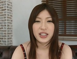 Horny Oriental  rides on a thick sex fucktoy naughtily