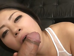 Senior Oriental with large bra buddies shares her cunt with a few studs