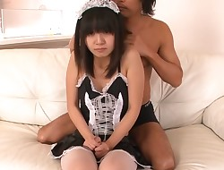 Oriental in nylons gives hawt oral job in racy sexy threesome