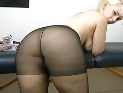 Girl with a big rump farts in black pantyhose