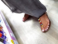 candid perfect french pedicured feets toes