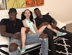 Little Teen Destroyed by Two Giant Black Dudes
