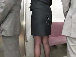 Cum on japanes office worker',s micro-skirt in public bukkake 3