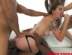 Interracial gangbang with cute BBC loving dark haired