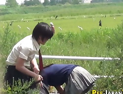 Japanese teenage babes pee
